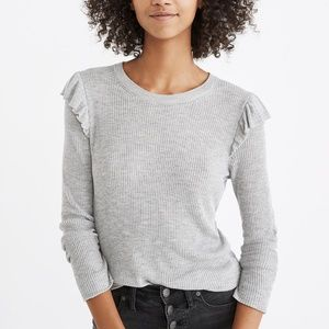 Madewell Ruffle Sleeve Pullover Knit Sweater